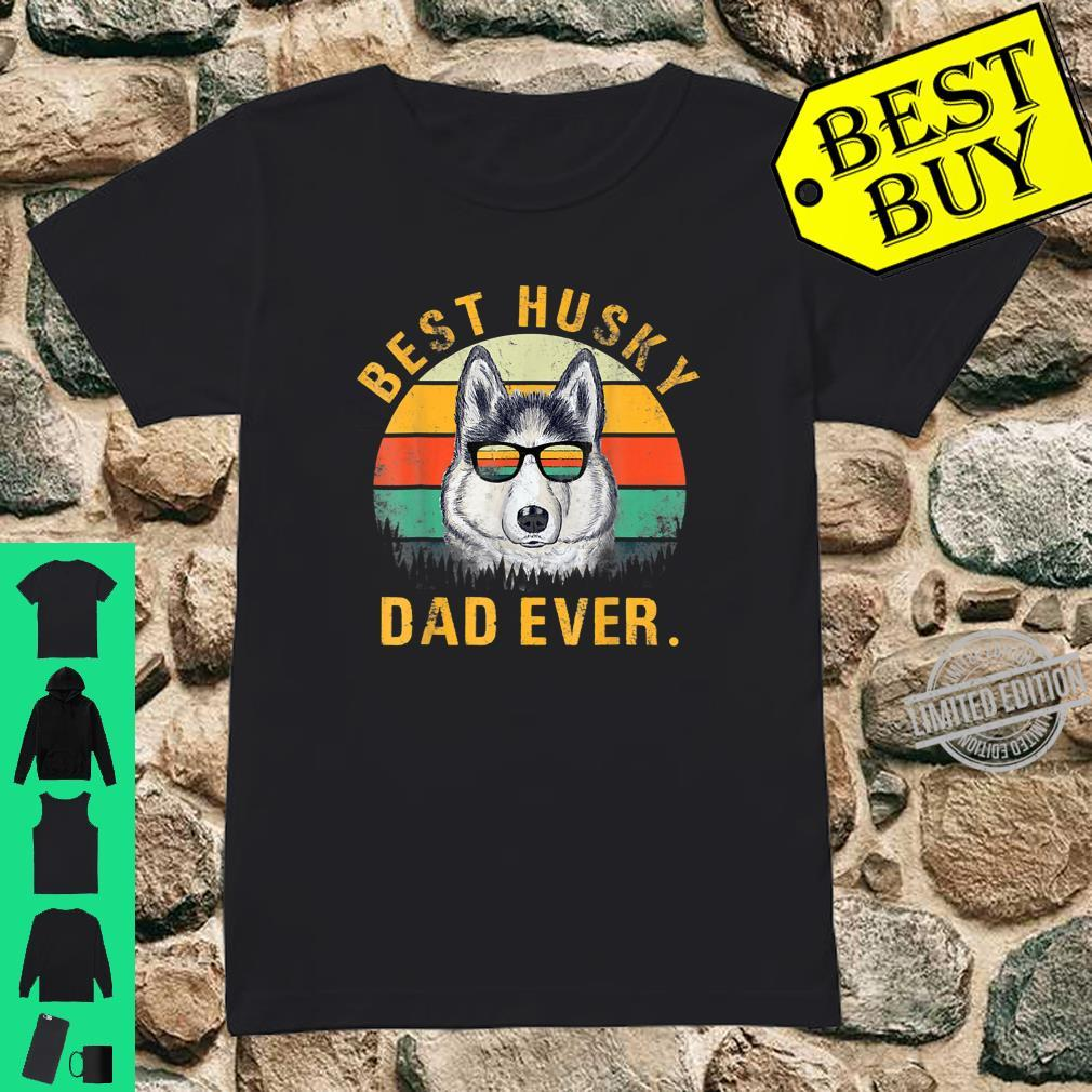Dog Vintage Best Husky Dad Ever Fathers Day Shirt ladies tee